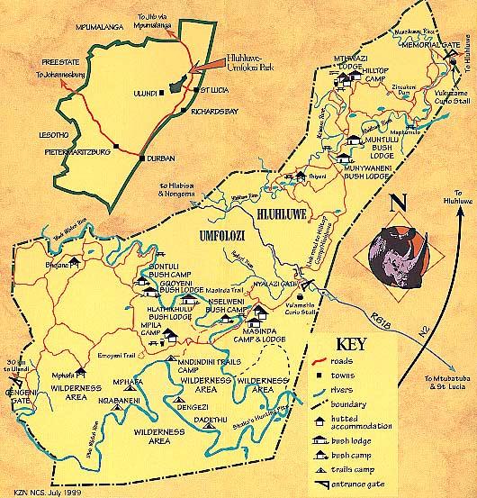 mappa del parco Hluhluwe-Imfolozi