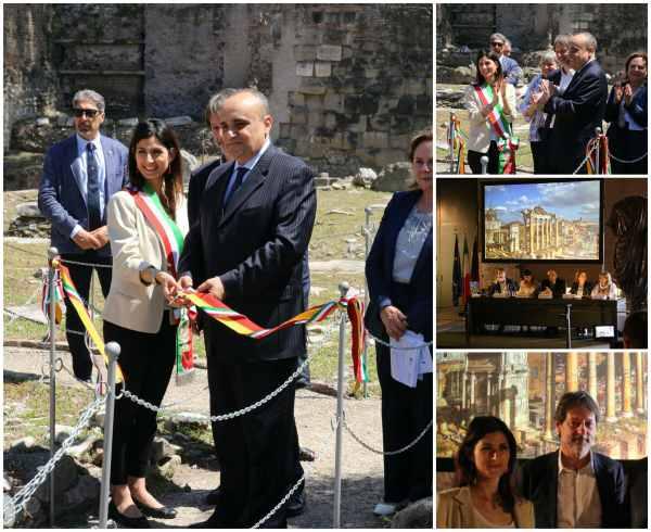 Fori Imperiali Fori Romani taglio del nastro sindaco raggi ministro bonisoli