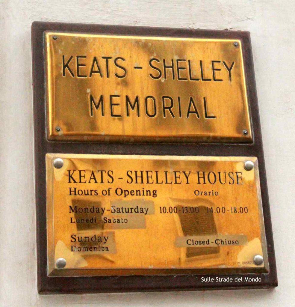 La Casa di Keats Shelley è chiusa la domenica