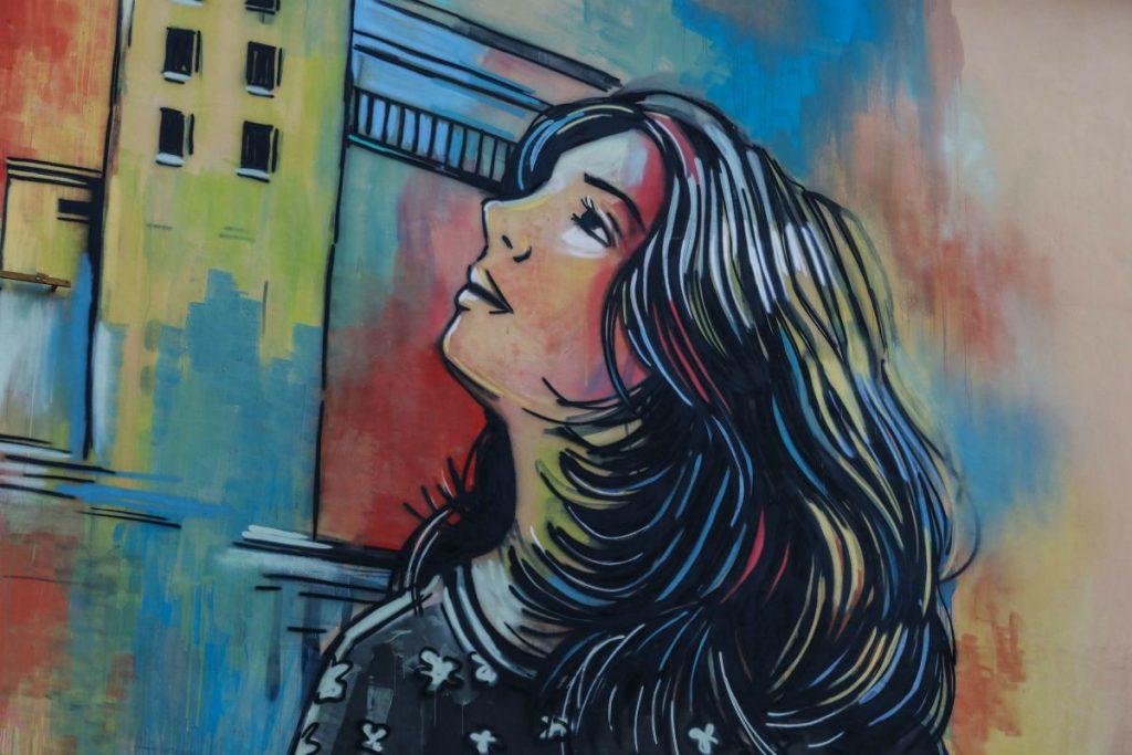 particolare del murales di casal bertone