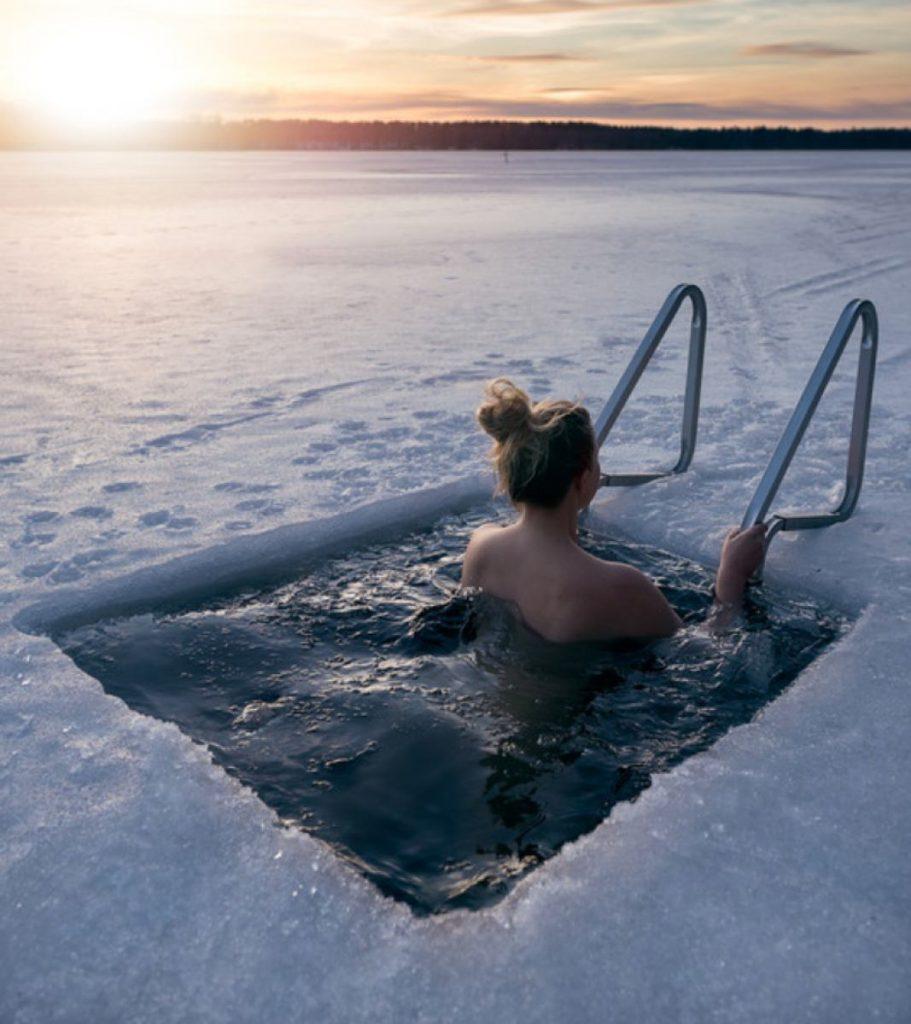 bagno nell'acqua gelata