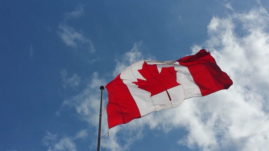 Bandiera del Canada che svenltola