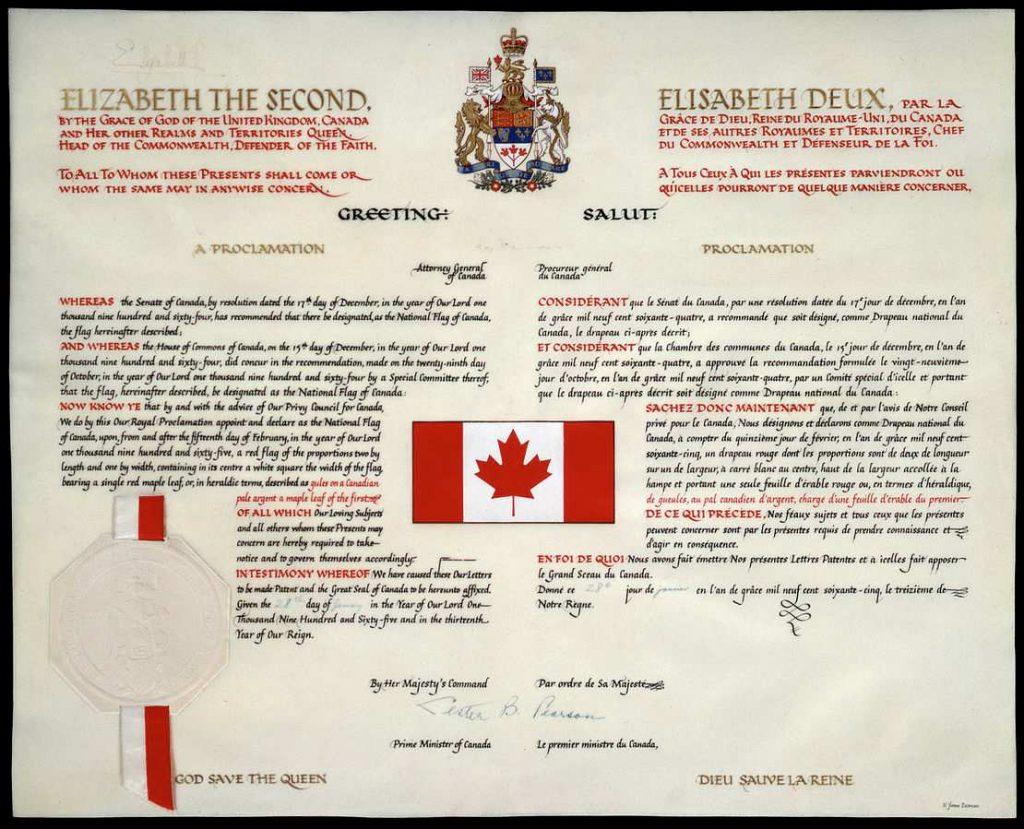 atto di proclamazione della bandiera del Canada